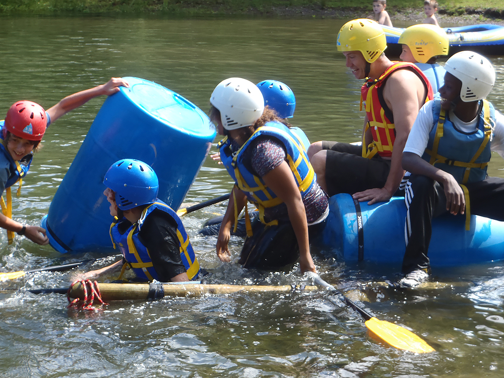 Raft building team challenge