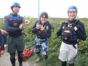 Andy, Nick and Giles on Coasteering training